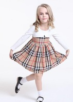 2015 new cotton Grid dresses of the girls  a48.2Free shipping