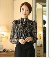 NEW ARRIVAL 2014 Winter Ladies Fashion Elegant Print Sheer Long Sleeve Chiffon Fleece Blouses & Office Shirts Korean Style