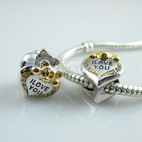Fashion Charm 925 Silver Plated Cute Gold Bear I Love You Beads Charms Bracelets Beads Fit European Style Beads Bracelets