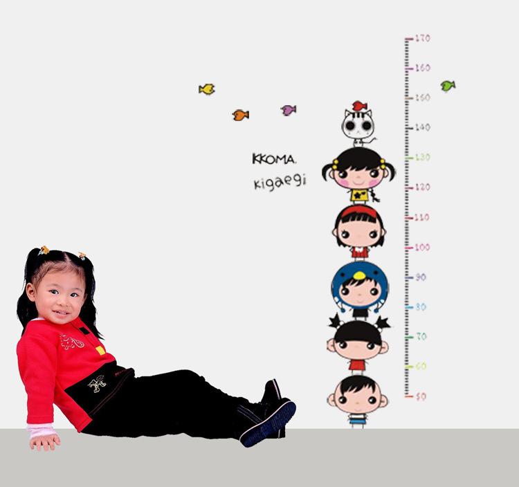 colorful doll bird cat cartoon Height measurement Wall kid child Sticker mural(China (Mainland))