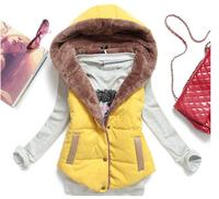 Women hooded cotton vest cotton  fashion stitching vest