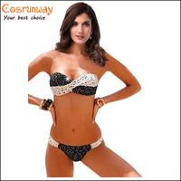 2015 New swimsuit bikini plaid strapless biquinis women bikini brazilian swim suit with circlet