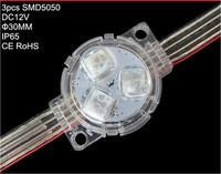30pcs DC12V 30mm DMX512 led pixel module;IP68 rated;0.72W;20cm wire spacing;standard dmx