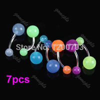 D19 2015 hot-selling 7PCS Jewelry Ball Belly Button Navel Rings Stud Stainless Steel Body Piercing  free shipping