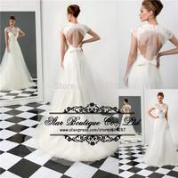 Elegant Vestido De Noiva 2015 High Neck Lace Appliques Backless Tulle Wedding Dresses Bridal Dress