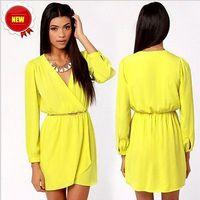 Fashion Womens Casual Autumn Long Sleeve Chiffon Tops Dress PLUSE Size S- XXL