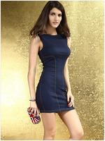 Summer New Fashion Blue Women Dresses Rivet Ladies Slim Dress for women  HM164