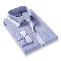 2015 Fashion Brand Stripe Men Casual Shirts Long Sleeve Slim Fit Plus Size Casual Male Social Dress Shirt