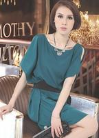 2015 summer new women's large size Slim thin short-sleeved chiffon dress