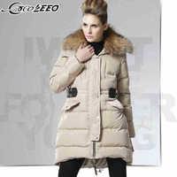 2014 Winter Thicken Warm Woman Down jackets Coats Parkas Outerweat Cold Mid Long Slim Raccoon Fur collar Plus Size XL Khaki