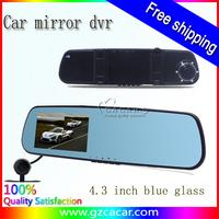 factory new model 4.3 inch g-sensor car dvr mirror dual camra140 degree good quality dvr recorder