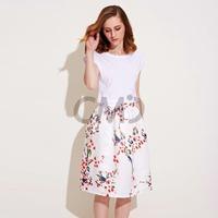 2015 New Fashion Floral Print Knee-Length high waist skirt female summer women clothes midi skirt free shipping