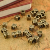 50pcs diy Metal Letters spacer beads alphabet beading necklace vintage bracelet jewelry beading big hole beads Free Shipping