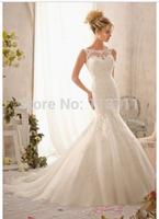 2015 Styles Mermaid High Neck Tank Sleeveless Tulle Sweep Train Lace Cheap Bridal Dresses
