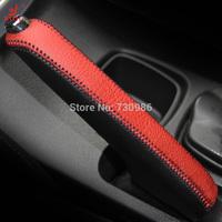 XuJi Red Genuine Leather Black Suede Handbrake Cover for Suzuki S-CROSS