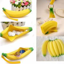 1 X Novelty Silicone Portable Banana Coin Pencil Case Purse Bag Wallet Pouch Keyring(China (Mainland))