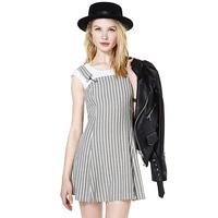 Classical 2015 casual striped women dress mini preppy style Metal buckle loop straps sleeveless ladies dress J1106