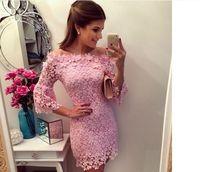 2015 vestido de renda vestidos femininos curtos women ladies evening party lace floral crochet mini casual dress Puls Size pink