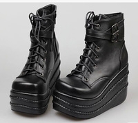Free shipping Fourever-sd lolita platform shoes black buckle boots SJ01