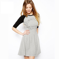 Euro american style preppy style women dress half sleeve letter print loose knitting black and gray patchwork ladies dress J1107
