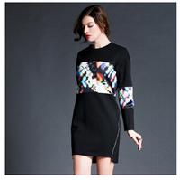 Plus size slim women print casual dress 2015 new fashion europe style spring autumn long sleeve patchwork women dress F0948 HOT
