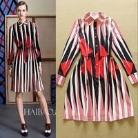 European Style Spring Woman's  Fashion Stripe Printed Long Sleeve Shirt Dress Elegant Office Career Dress F16808