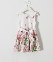 2015 New Girls Flower Pattern Dresses With Bow Sashes , Kids Elegant  Cotton Summer Dress 5 pcs/lot,Wholesale