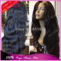"Hot Fashion remy hair U Part lace front Wigs 22""#1b virgin peruvian loose wave u part wig for black women free shipping"