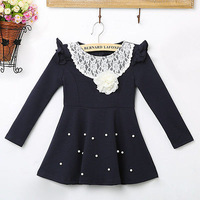 Hot Sale autumn winter Kids Toddlers Girls dress Pearl Lace Cotton Long Sleeve Dress girl clothing 1-6Y