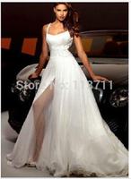 In StyleLovely A-Line Beaded Detail Chiffon Long High Slit Halter Wedding Dress