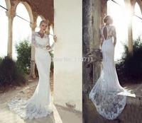 Amazing Mermaid V Neck Brush Train Lace Long Sleeves Open Back Wedding Dress