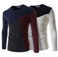 High quality! 2015 new Spring/Autumn men long sleeve O-neck t shirt Fashion Men Splicing T-shirt casual slim cotton t-shirt Men