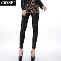 New 2014  Winter  Simple Slim Size Leather  Cross Women Leggings European  Style  Free Shipping L3126