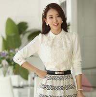 Fast/Free shipping 2015 Korean Spring Clothing Casual Blusas Femininas Slim White Lace Patchwork Blouse Women Blouses C751