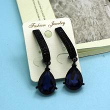 Women s Marriage Anniversary Brincos Grandes Shiny brand Drop Rhinestone Earring For Woman Colar Masculino Blue