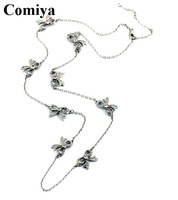 Comiya Trendy gold Silver Metal Bowknot Long Link Chain Necklaces for women with embedded crystal rhinestones necklace jewelry