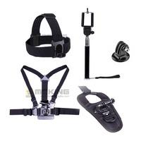 Gopro Adjustable Chesty Harness Belt + Head Strap + selfie monopod + adapter mount + Glove-style Mount for Hero 2 3 3+ 4 sj4000