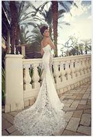 Charming Mermaid Sweetheart Chiffon Sweep Train Lace Formal Wedding Gowns