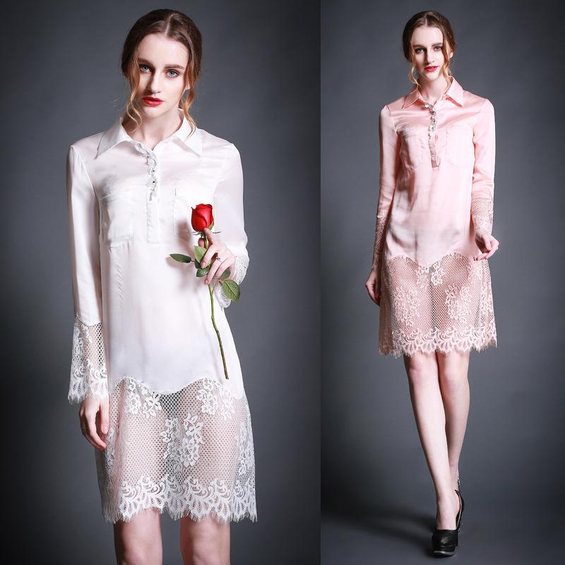 2015 spring new European brand women's shirt collar beaded silk stitching lace dress()