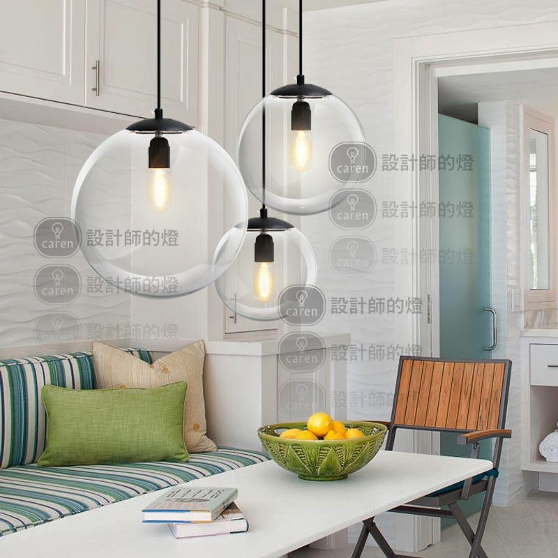... minimalista moda singolo testa palle di vetro lampadario designer