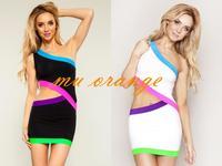 European and American stars  Sexy Dress package hip sleeveless strapless bandage dress  nightclub dress A0005