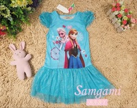 Free Shipping kids Dress Elsa & Anna Summer Dress For Girl Hot Princess Dresses Brand Girls Dress Children Clothing Kids Wear