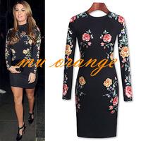 New Ladies' Fashion print Dress black round neck dress  floral printed  dress  Party dress Elegant A006