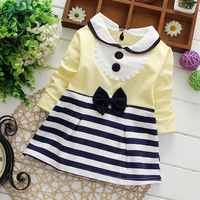 New 2015 Children Spring Clothes Girls Dresses With Bow Striped Baby Girls Long Sleeve Dress Kids Dress Child Casual Wear