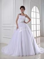2015 Custom Vestidos De Noiva Vintage Floor Length One Shoulder Wedding Dresses Ball Gown Bride Dress Bridal Gowns