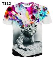[Alice]free ship 2015 Top Hot men's 3d t shirt Tie-dye Meditation Man print 3D tshirt high quality short sleeve tshirts T222