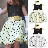 Retail 2015 Summer Girls Flower Dot Bubble Dress Sleeveless Princess Tutu Dress Kids Clothes Vestidos 4 Colors Fit 18M-5Y
