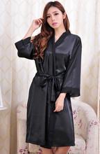 Soft Faux Silk Women Lace Robe Black White High Quality Loose Three Quarter Sleeve Sain Bathrobe For Spring Summer Autumn Winter(China (Mainland))