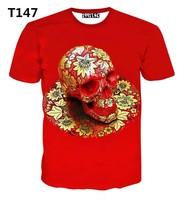 [Alice]free ship 2015 Nice red color t-shirt big Flowers Skull 3d t shirt women tshirt short sleeve casual print tshirts T147
