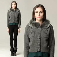 Winter fashion joker Woolen sweater short style fur collar warm knitting sweater coat